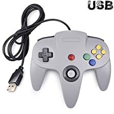 Classic Nintendo 64 Controller, iNNEXT N64 Wired USB PC Game pad Joystick, N64 Bit USB Wired Game stick Joy pad Controller for Windows PC MAC Linux Raspberry Pi 3 Sega Genesis Higan (Grey)