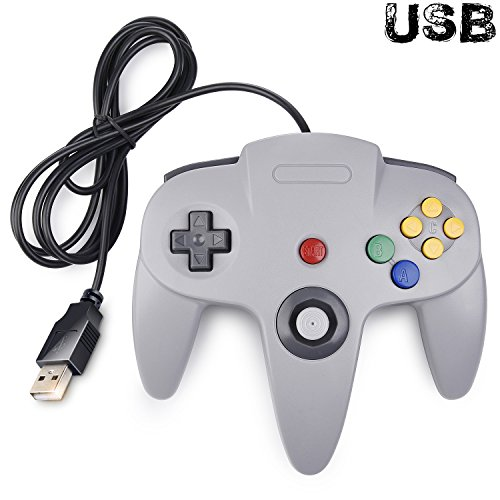 Classic N64 Controller, iNNEXT N64 Wired USB PC Game pad Joystick, N64 Bit USB Wired Game Stick Joy pad Controller for Windows PC MAC Linux Raspberry Pi 3 Sega Genesis Higan (Grey) (Classic Joystick For Pc)