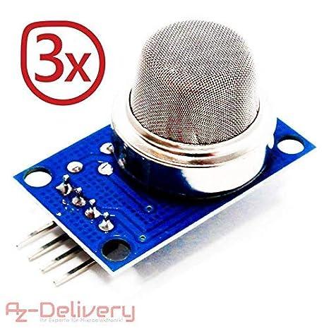 AZDelivery 3 x MQ-135 Sensor de Gas modulo de Calidad del Aire para Arduino con ebook Gratis!: Amazon.es: Electrónica