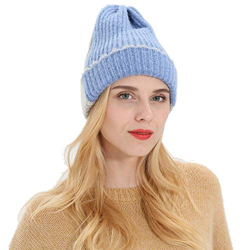 Women Autumn Winter Beanie Two-tone Knitting Hat Wool Warm Ski Cap(Sky Blue)