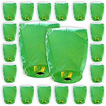 Just Artifacts ECO Wire-Free Flying Chinese Sky Lanterns (Set of 20, Eclipse, Green) - 100% Biodegradable, Environmentally Friendly Lanterns!