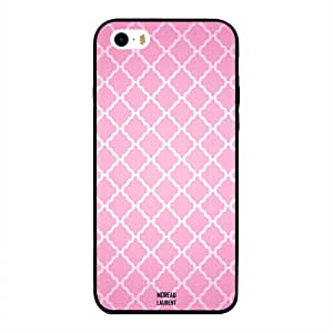 iPhone 5/ 5s/ SE Case Cover White Design on Pink Pattern, Moreau Laurent Designer Phone Cases & Covers