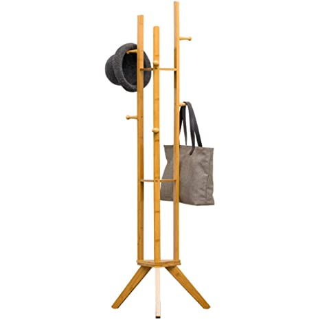 Coat rack Perchero de bambú Soporte para estante 6 Ganchos ...