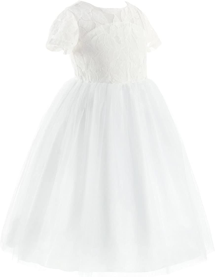 CHICTRY Flower Girls Dresses Kids Formal Lace Party Wedding Pageant Ball Gown Dress with Hollow Heart Shape White
