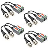 ANHAN Mini Twisted CCTV BNC Passive Video Balun Transceiver UTP Transmitter Connector via CAT5 Cable for CCTV Security/Surveillance DVR Camera Systems 4 Pairs