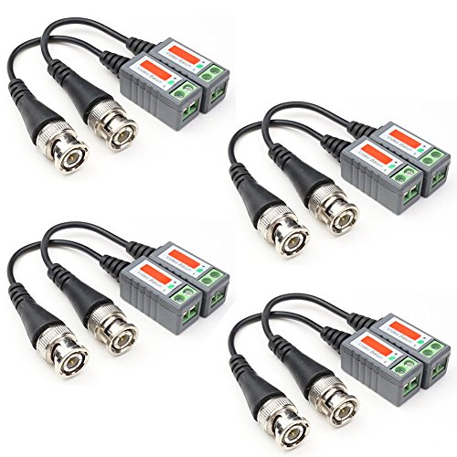 ANHAN Mini Twisted CCTV BNC Passive Video Balun Transceiver UTP Transmitter Connector via CAT5 Cable for CCTV Security/Surveillance DVR Camera Systems 4 Pairs by ANHAN
