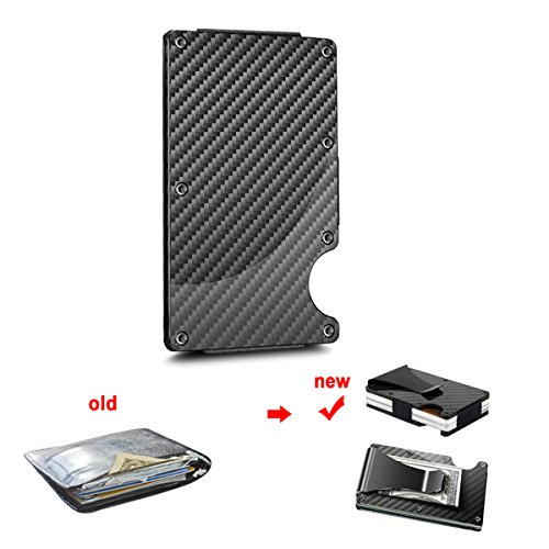 Money Clip Slim Wallet, Minimalist Wallet, Men's&Women's Carbon Fiber Card Case by Halowin (Image #1)