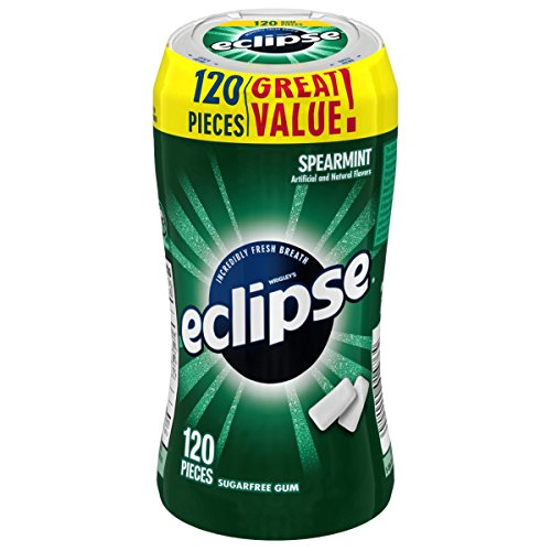 Eclipse Sugar Free Gum, Spearmint, 120 Piece Bottle Eclipse Sugar Free Gum Spearmint