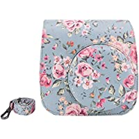 Elvam Vintage Flower Floral PU Leather Fujifilm Instax Mini 9 / Mini 8 / Mini 8+ Instant Film Camera Case Bag w/ a Removable Bag Strap