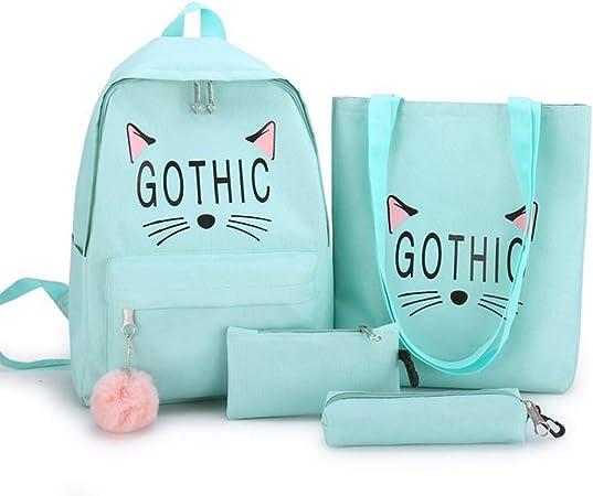 Kuvuiuee - Juego de 4 mochilas de lona, ligeras, para niñas, para el colegio, el colegio, el bolso, el libro, estuches verde: Amazon.es: Hogar