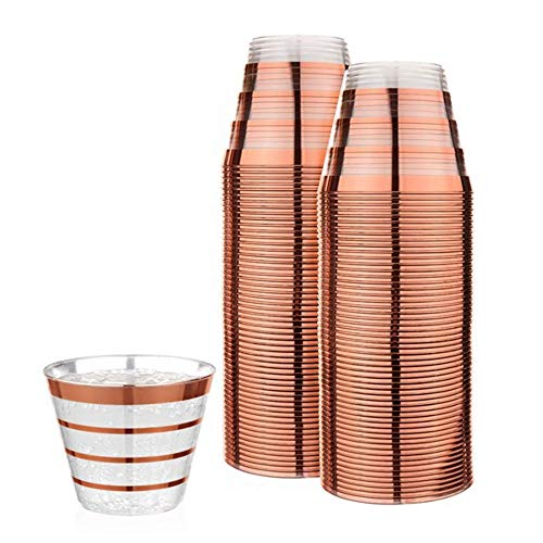 Perfect Settings Fancy Disposable Cups - Elegant Party Cups With Our Four Lined Rose Gold Rim - Give Your Party The Golden Touch - Pack of 110 9oz Clear Plastic Cups