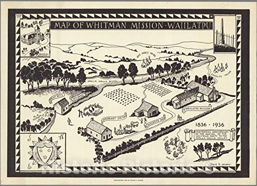 Historic Map | Map of Whitman Mission - Waiilatpu, 1936 | Vintage Wall Art | 61in x 44in