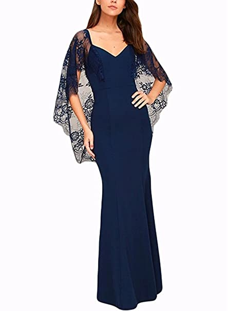 BeneGreat Women s Lace Cape Sleeve Long Evening Gowns V Cut Open Back Maxi  Formal Party Dress 89ebcb11a