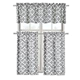 Ultra Luxurious Grey Shabby 3 Piece Kitchen Curtain Tier & Valance Set By GoodGram