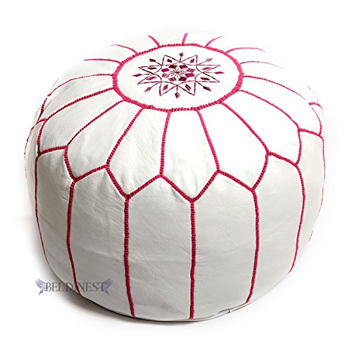 BeldiNest Stuffed Moroccan Ottoman White/Fuchsia Leather Pouf Handmade Pouffe, Hassock, Tuffet, Foot Stool, Seating Foot Rest (White/Fuchsia)