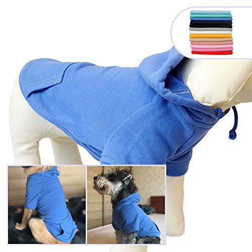 Lovelonglong Pet Clothing Clothes Dog Coat Hoodies Winter Autumn Sweatshirt for Small Middle Large Size Dogs 11 Colors 100% Cotton 2018 New (S, Blue) Dog Coats Winter Clothing
