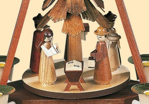 Müller German christmas pyramid Nativity scene, 1-tier, height 30 cm / 12 inch, natural, original Erzgebirge by Mueller Seiffen MU 10324