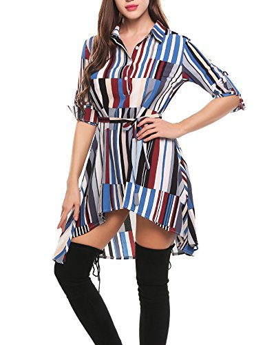Zeagoo Women Summer Casual A-Line Shirt Dress Half Placket Geometric Asymmetrical Short Dresses Blue Medium