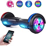 """Benedi Hoverboard Two-Wheel Self Balancing Scooter UL2272 Certified Hover Board with Bluetooth Speaker 6.5"""" Flash Wheels and Top Colorful LED Lights (Black)"""