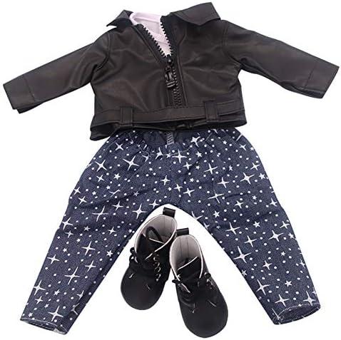ACHICOO 人形服 革 かわいい 付属品 18インチの女の子の人形用 冬 女の子 贈り物 ブラック