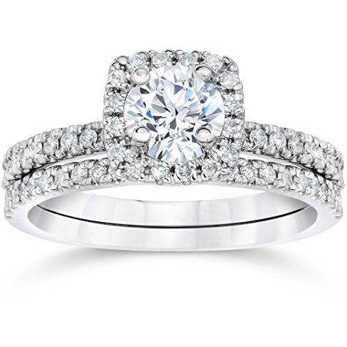 5/8 Carat Cushion Halo Diamond Engagement Wedding Ring Set White Gold - Size 5.5