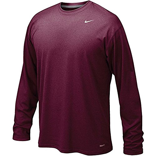 (NIKE Men's Legend Long Sleeve Performance Shirt (Maroon, X-Large))