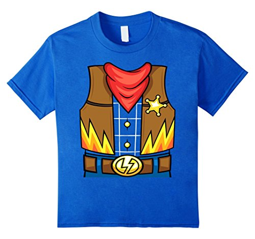 Kids Cowboy Halloween Costume T-Shirt | Boys Girls Tee 6 Royal (Easy Dumb Halloween Costumes)