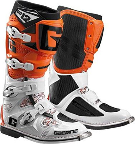 Gaerne SG12 Adult Off-Road Motorcycle Boots, Black, 11 Orange/White