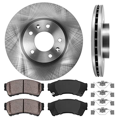FRONT 299 mm Premium OE 5 Lug [2] Brake Disc Rotors + [4] Ceramic Brake Pads + Clips ()