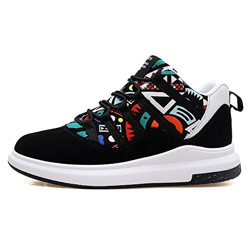 Hasag nuevos Pares de Primavera Zapatos Deportivos Femeninos Ayuda Alta Zapatos Planos de los Estudiantes Black Colorful A4