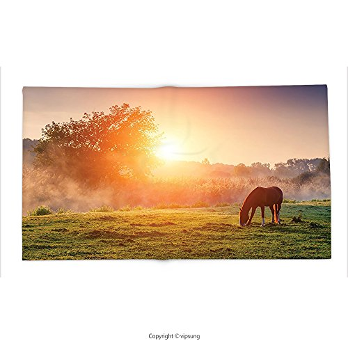 Custom printed Throw Blanket with Farmhouse Decor Collection Arabian Horses Grazing on Pasture at Sundown in Sunbeams Carpathians Ukraine Europe Image Green Super soft and Cozy Fleece Blanket by vipsung