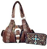 Western Rhinestone Cross Buckle Style Handbag Purse Matching Sert in Coffee