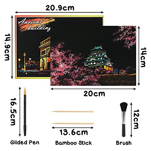 Koogel Kratzbilder, 16 Baltt 200 x 140 mm Scratch Paiting Paper Weltberühmte Sehenswürdigkeiten Feuerwerk Beschichtete Bunte Kratzpapier mit Werkzeug Set für Erwachsene