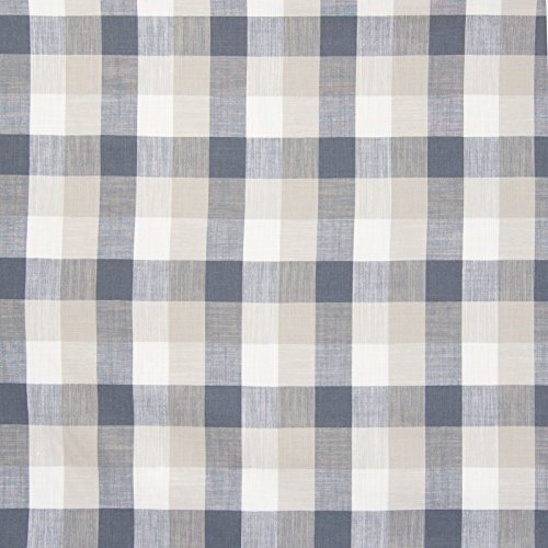 Grey Gray Plaid Check Houndstooth Woven Linen Upholstery Fabric by the yard -