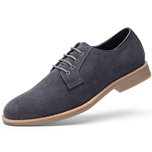 GOLAIMAN Men's Suede Leather Oxford Shoes casual Lace up Dress Shoes GREY 8.5 D (M) ()
