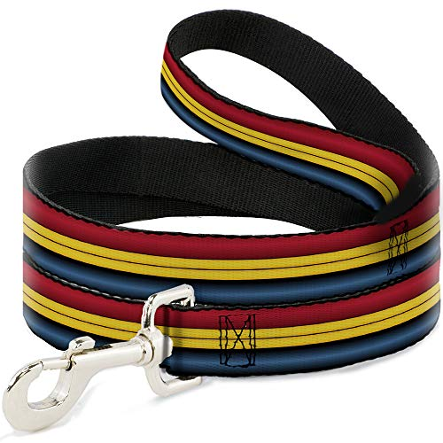 Buckle Down Dog Leash Captain Marvel Stripe Red Gold Blue 4 Feet Long 1.0 Inch ()