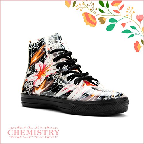 Boots Paisley Floral Women's Ankle Jelly Flat Chemistry Rain Red Sneaker vq0HwZ7
