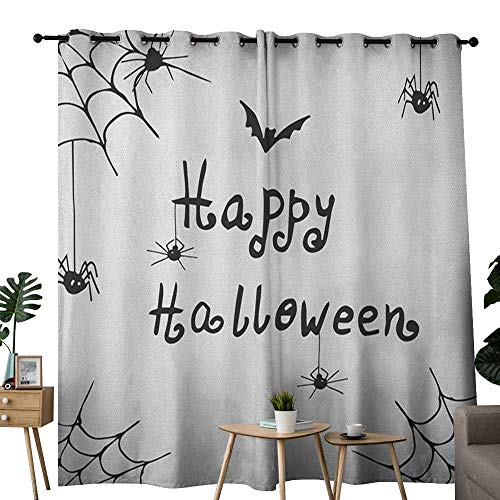 (NUOMANAN backout Curtains for Bedroom Spider Web,Happy Halloween Celebration Monochrome Hand Drawn Style Creepy Doodle Artwork, Black White,Pocket Thermal Insulated Tie Up Curtain)
