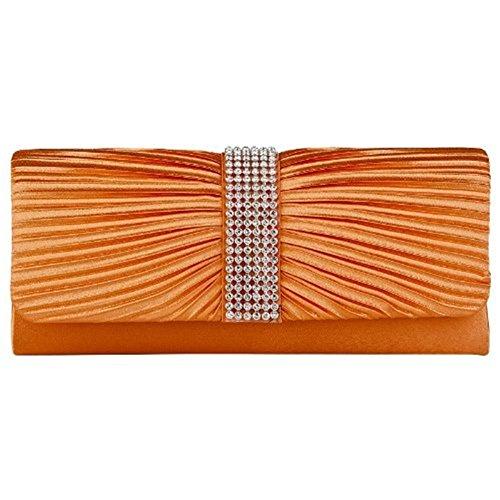 femme de en Orange noeud et My1stWish pour Eleoption strass Pochette soirée Orange Satin xTwRwg