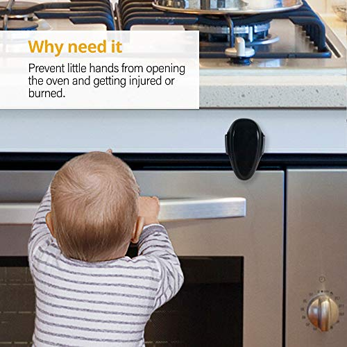 EUDEMON 1 PackChildproof Oven Door Lock, Oven Front Lock Easy to Install and Use Durable and Heat-Resistant Material no Tools Need or Drill (Black)