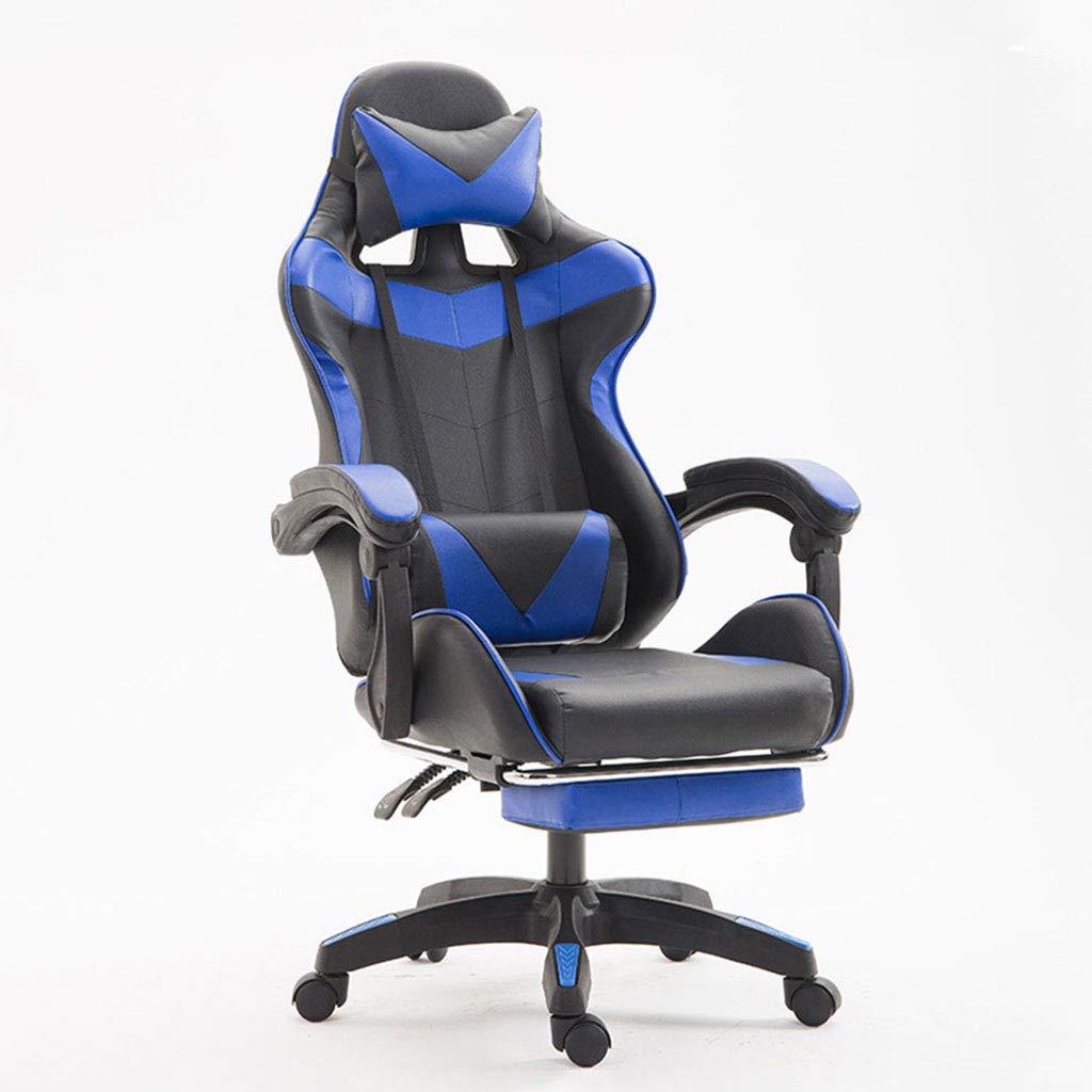 オフィスチェア/回転チェア/E-スポーツチェア、シンプル、ランチブレイク、レザー、高弾性フォームスポンジ、エルゴノミック、耐荷重、オフィスワーカーに最適  blue B07PCJ3FYQ