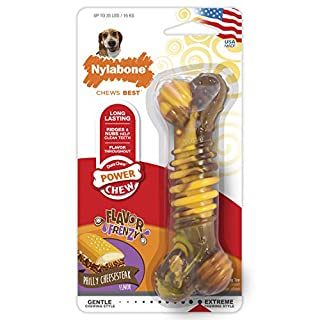 Nylabone Flavor Frenzy Dura Chew Power Chew Philly Cheesesteak Flavored Bone Dog Chew Toy, Wolf, Up to 35 lbs