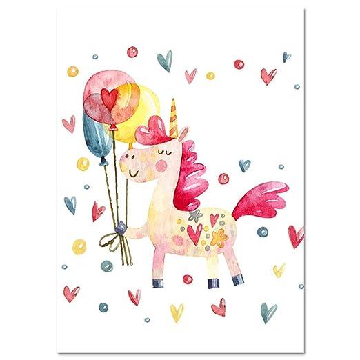 Cartel de Unicornio vivero Rosa vivero Arte de Pared Lienzo ...