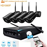 JOOAN Wireless Home Security Cameras System,4 x 1080P CCTV Surveillance Wifi IP Camera with 4CH NVR & 2TB HDD for Home/Office/pet/Baby/Elderly Monitor