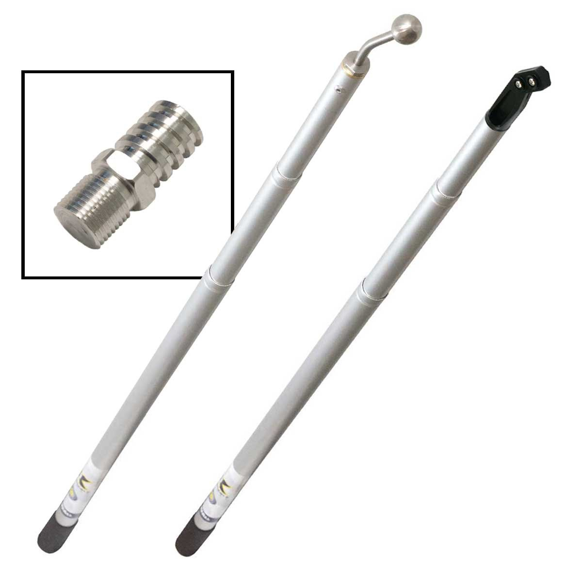 Rankee Extendable Drywall Finishing Tool Handle 3' - 8' (Nail Spotter, Angle Head, Adapters) by Laco/1925