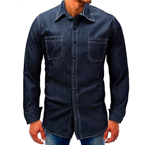 Realdo Mens Denim T-Shirt, Casual Fashion Long Sleeve Button Down Turtleneck Splice Tops(Blue,X-Large)