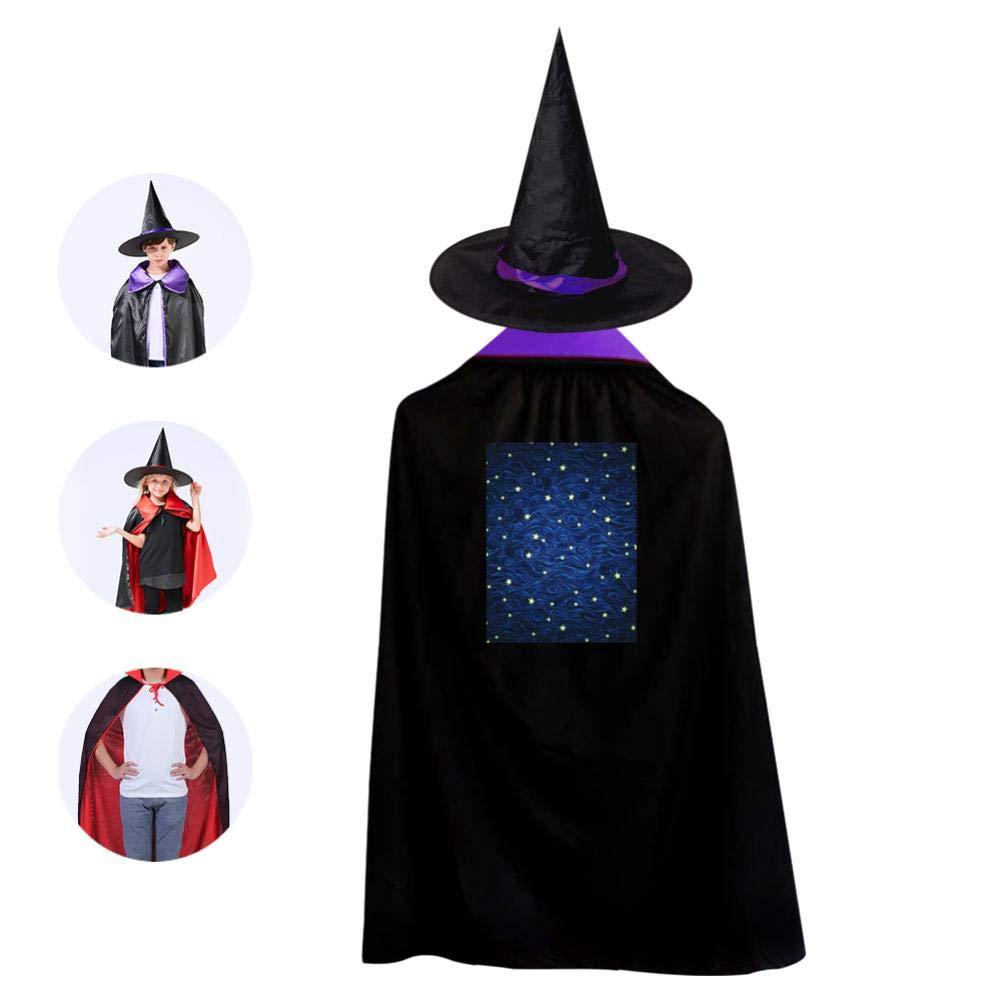 Children'S Halloween Cloak Wizard Cap Suit Unisex Print Cosmic Stars Purple