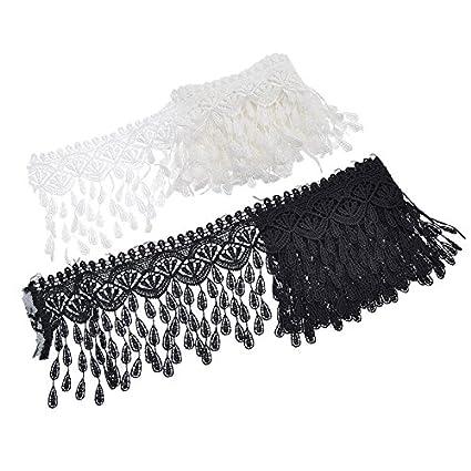 Yalulu 5 Yards Floral Tassel Lace Applique Sewing Trim Bridal Wedding Dress Ribbon Embroidered Applique DIY (Black)