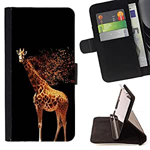 BullDog Case - FOR/LG Nexus 5 D820 D821 / - / Cool Glowing Giraffe /- Monedero de cuero de la PU Llevar cubierta de la caja con el ID Credit Card Slots Flip funda de cuer