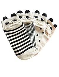 4 Pairs Girls' Panda Cotton Casual Low Cut Socks